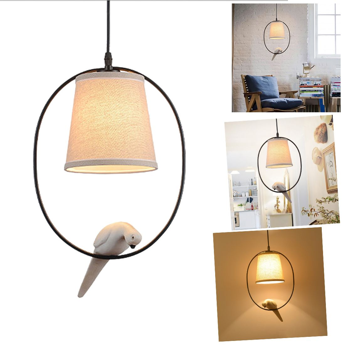 Retro Single Head Resin Bird Chandelier American Country Personality Aisle Bedroom Living Room Lighting Study Restaurant Chande