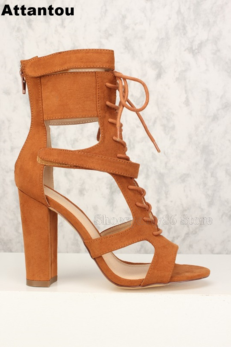 New Fashion Luxury Suede Leather Lace Up Gladiator Sandal Boots Women Chunky Block Heeled Open Toe High Heel Sandals все цены