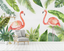 beibehang Dream Fashion Seductive Wallpaper Hand Painted Plant Tropical Rain Forest Flamingo Background Wall Paper papier peint