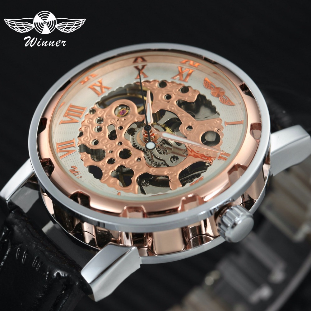 WINNER Official Luxury Unisex Men Women Watches Skeleton Mechanical Roman Numeral Leather Strap Couple Watch Relogio Feminino
