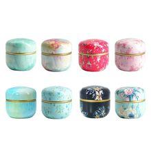 Japanese Style Flower Round Metal Case Wedding Favor Organizer Container Mini Ti
