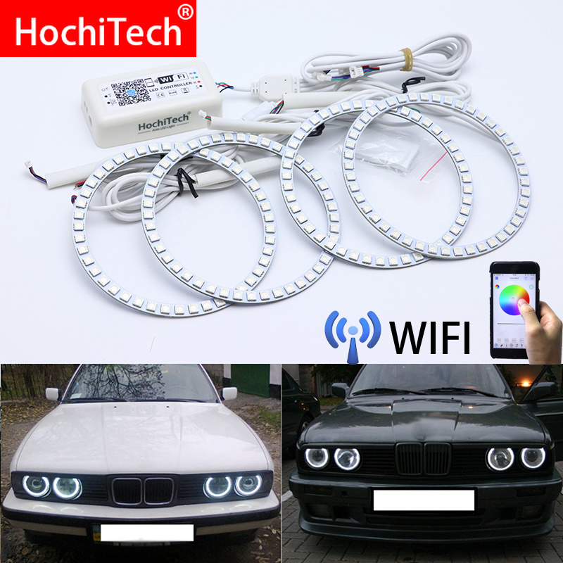 Wifi Wireless RGB Multi-Color LED Angel Eye Halo Rings Day Light DRL for <font><b>BMW</b></font> <font><b>E30</b></font> E32 E34 image