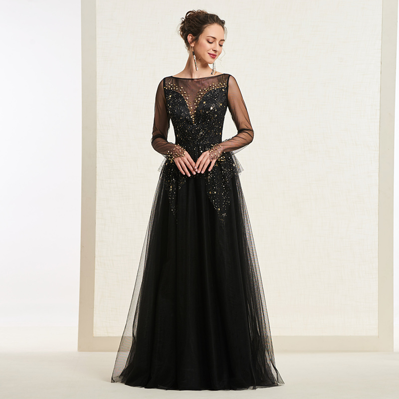 Tanpell Beading   prom     dresses   scoop neck long sleeves floor length a line gown women button party custom long black   prom     dress