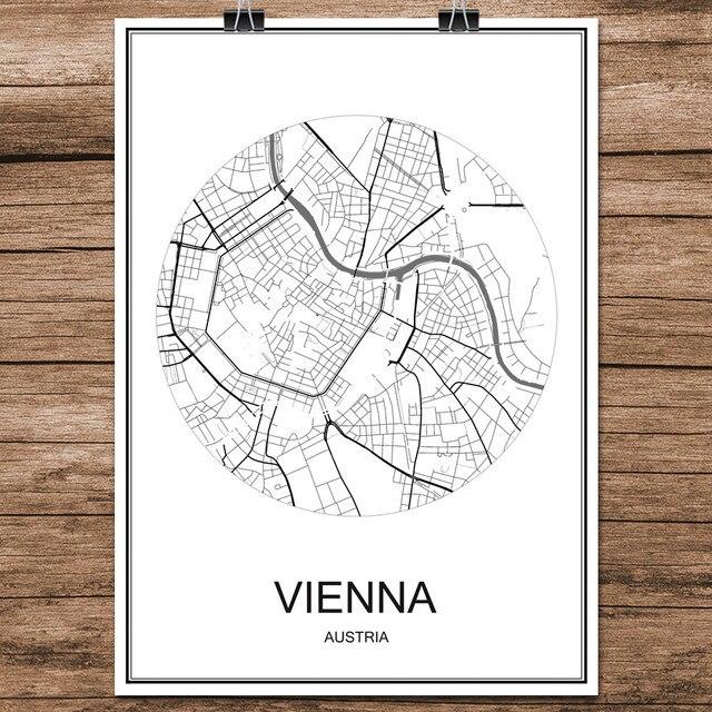Vienna, Austria Nero Bianco Città Del Mondo Mappa Stampa Poster ...