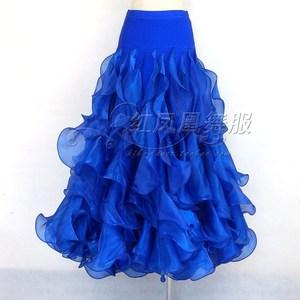 Image 1 - New style Ballroom dance costumes sexy spandex crimping ballroom dance skirt for women ballroom dance skirts S 4XL LBR 953