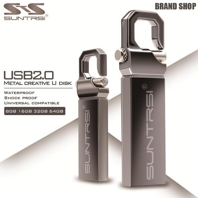 Suntrsi USB флешка 64 ГБ металлическая подвеска Высокое Скорость интерфейсом USB 32 ГБ Pen Drive реальная Ёмкость 16 ГБ USB Flash бесплатная доставка