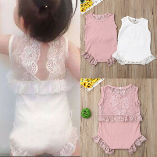 Toddler Baby Girl Sleeveless Lace Bodysuit Outfit Jumpsuit Playsuit Baby Clothes Summer Body