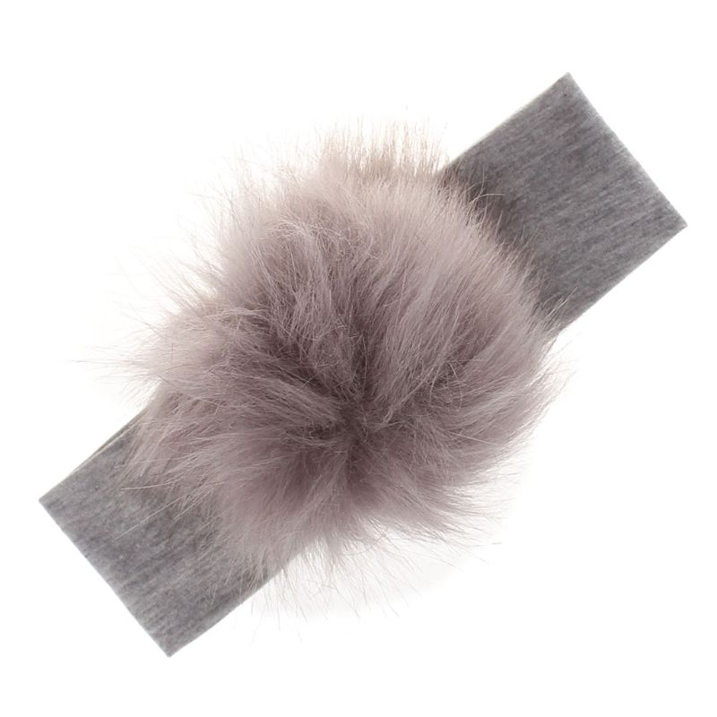 Artificial Raccoon Faux Fur Pompoms Baby Headbands Cotton Girls Elastic HairBand