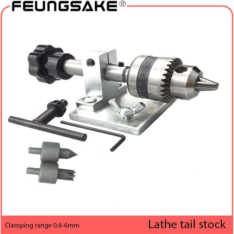 Wood Lathe DIY Lathe Tailstock Rotary Woodworking Lathe B10 Chuck 6.5mm,lathe Boring Lathe Tailstock Thimble Beads Accessories