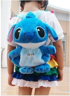 Candice guo plush toy stuffed doll cartoon sweet backpack Stitch baby school shoulder bag package kid children kindergarten gift kawai syrup lint rabbit bag lolita silk bowknot soft plush toy model doll single shoulder span portable pearl chain package