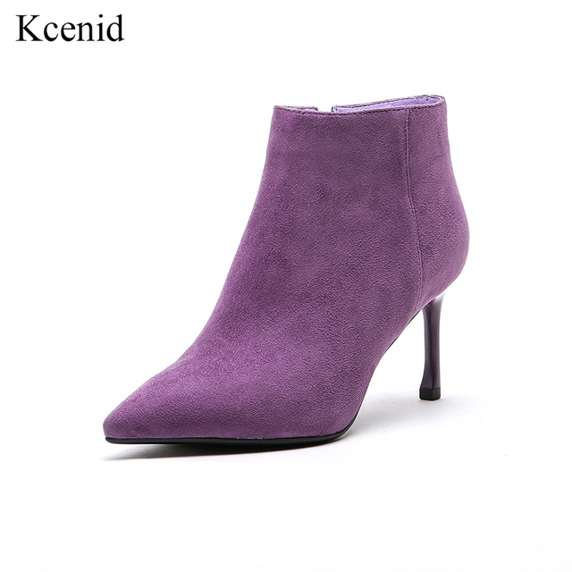 4ae60976d Kcenid New popular purple girls shoes fashion suede leather boots sexy high  heels pointed toe ankle boots for women zipper boots