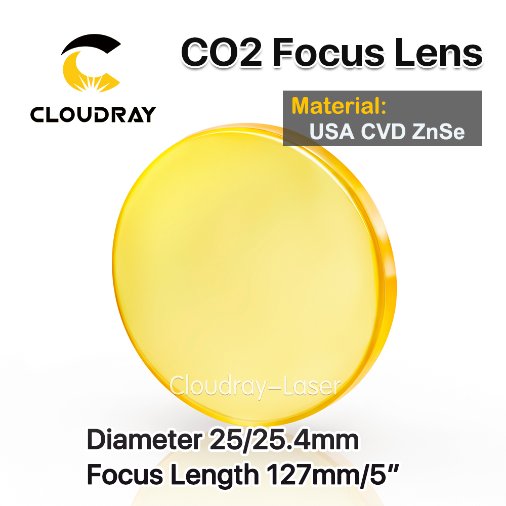 Cloudray USA CVD ZnSe Focus Lens Dia. 25/25.4mm FL 127mm 5 for CO2 Laser Engraving Cutting Machine Free Shipping usa cvd znse focus lens dia 28mm fl 50 8mm 2 for co2 laser engraving cutting machine free shipping