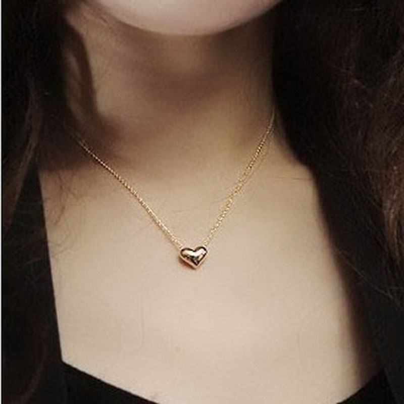 Delicate Women Lady Girl Simple Smooth Small Heart Rose Gold Pated Crystal Pendant Necklace Long Chain Fashion Jewelry