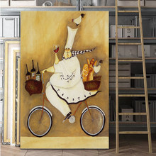 Cartoon Canvas Paintings Chef Art With Bycicle Poster Print Wall Pictures for Kid's Room Home Decoration Free shipping No Frame(China)