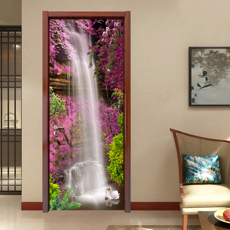 цена на Waterfall Landscape 3D Mural Wallpaper Door Stickers Home Decor Living Room Bedroom PVC Self-adhesive DIY Door Sticker 3D Modern
