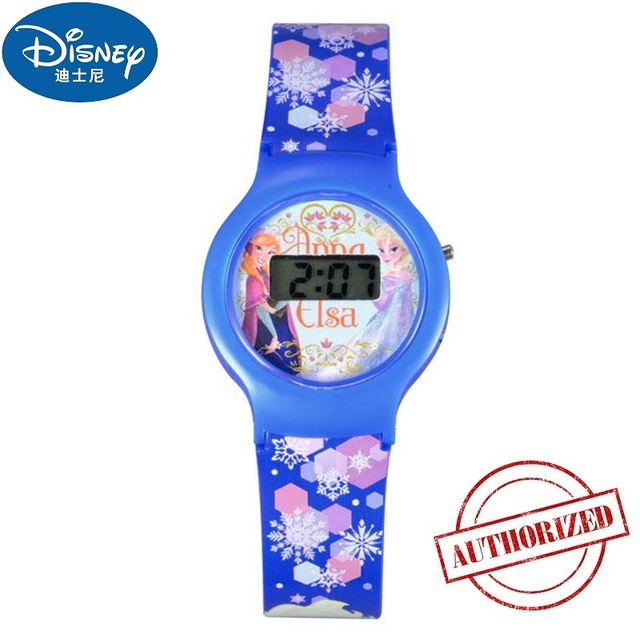 Disney Frozen Elsa Princess Cuties Girls Digital Blue Color PU Band Watch Pretty