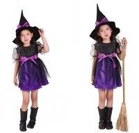 2 قطع هالوين ازياء ساحرة حلي اللباس مع قبعة فتاة الأرجواني حزب تأثيري ملابس للأطفال الفتيات