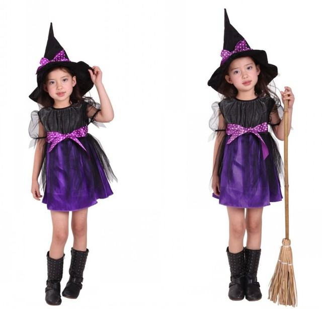 2 Pcs Halloween Costumes Girl Purple Witch Costume Dress with Hat Party Cosplay Clothing for Kids  sc 1 st  AliExpress.com & 2 Pcs Halloween Costumes Girl Purple Witch Costume Dress with Hat ...