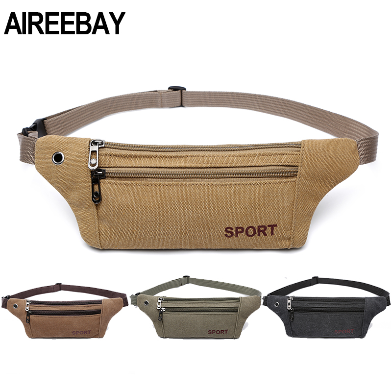 AIREEBAY Men Casual Durable Fanny Waist Pack Male Waist Bags Belt Canvas 2019 New Hip Bum Military Bag Pouch Three Zipper Pocket(China)