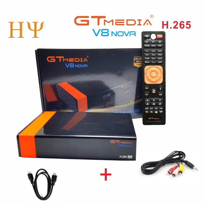 3PCS Lot Gtmedia V8 NOVA DVB S2 satellite receiver Built in wifi support H 265 freesat