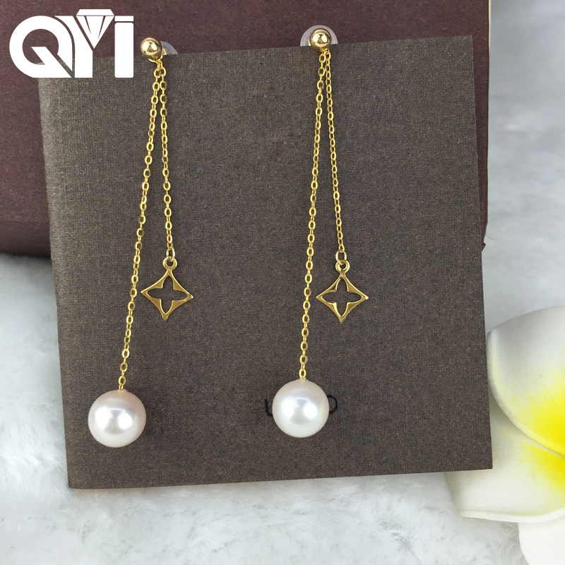 QYI Natural Cultured Freshwater Pearl 18K Yellow Gold Long Tassels Earrings Drop Dangle Earrings for Women Wedding Gift yoursfs dangle earrings with long chain austria crystal jewelry gift 18k rose gold plated