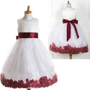 T062 детское платье без рукавов, нарядная праздничная одежда, модные красивые белые платья с цветочным узором для девочек, бордовые платья с л...