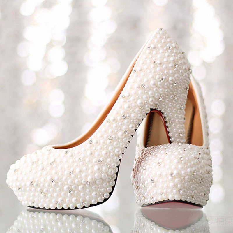 Luxurious White High Heel Bridal Dress Shoes Imitation Pearl Rhinestone Wedding Shoes Platform Lady Single Shoes Gorgeous Shoes luxurious ecru white bridal shoes crystal diamond 5cm low heeled shoes elegant imitation pearl wedding dress shoes