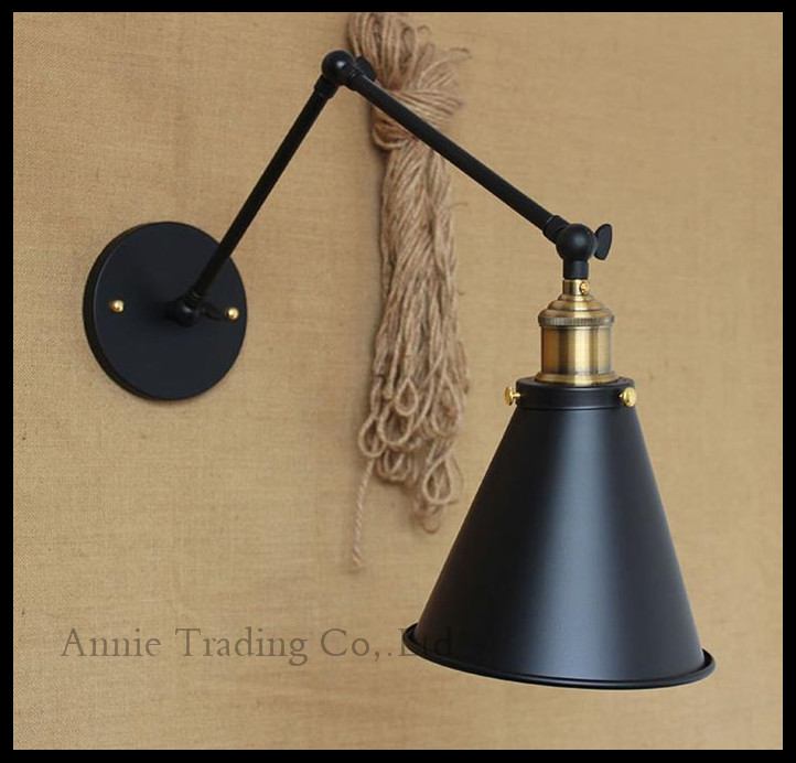 ФОТО Vintage Black 21+21cm or 3+30cm double swing arms wall lights Vintage Skirt Metal shade sconce lamp brass copper plated head