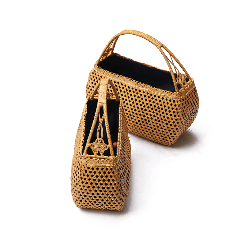 Image 5 - Female Bamboo hand Bags Bohemian Beach Handbag Lady Vintage  Rattan handbag Hollow Handmade Woven Basket ToteTop-Handle Bags   -