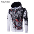 Hip Hop Hoodie Men Cool Rhinoceros Print Zipper Sleeve Assassins Creed Hoodies Male Sweatshirt Tracksuits Masculino