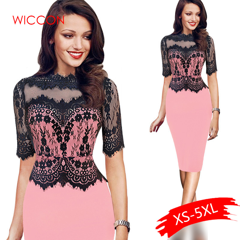Women Elegant Vintage Short Lace Sleeve Casual Party Special Occasion Sheath Fitted Bodycon One Piece Dress Suit