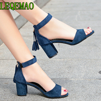Woman Shoes 2019 Summer Tassel Flock Women Sandals Fringe Sandal Heels Thick High Heels Sandals Sandalias De Salto Alto