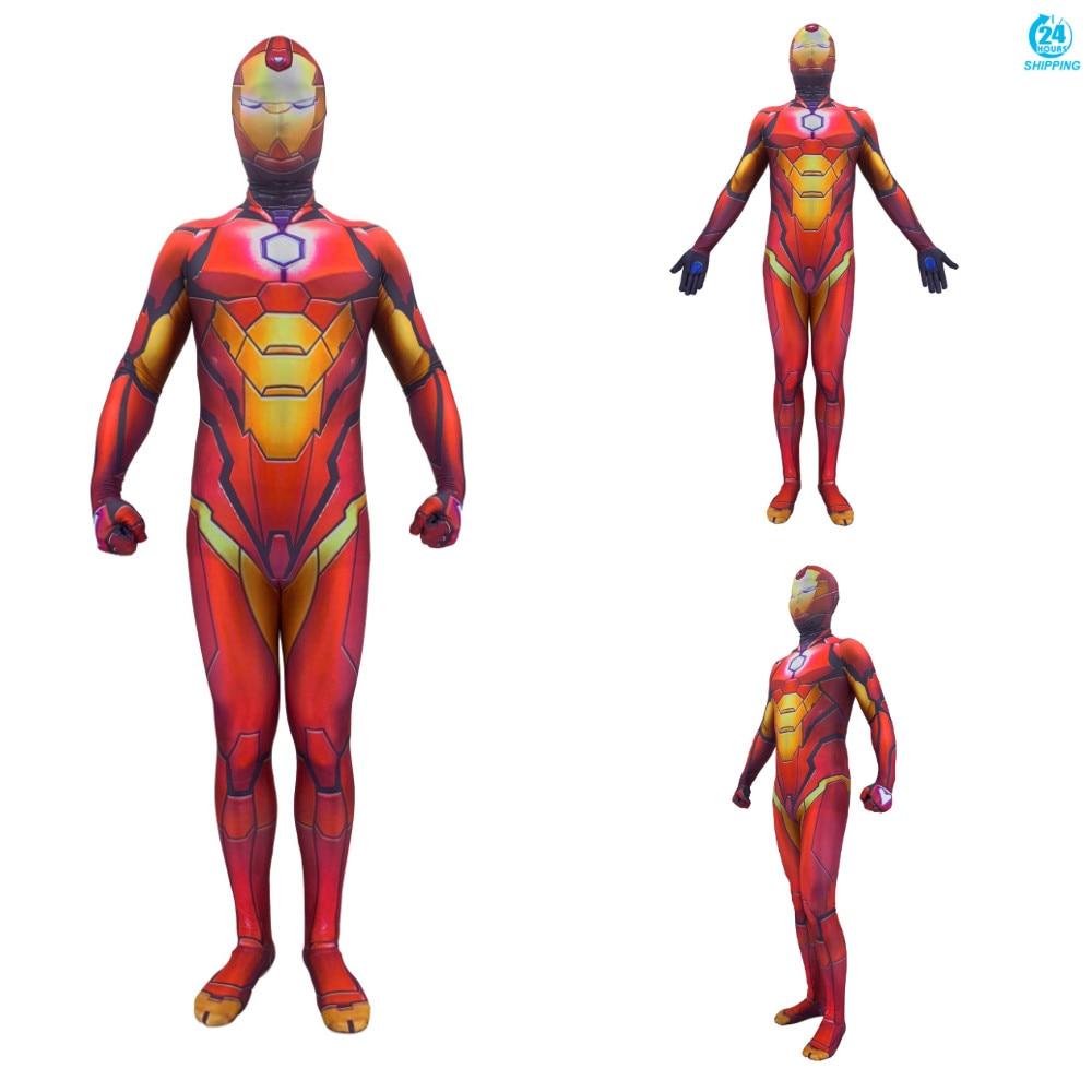 3D printing Iron Man Cosplay Costume Printing Spandex Lycra Zentai Bodysuit Suit Jumpsuits  cosplay men