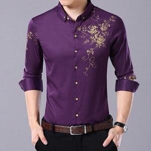 Image 3 - VISADA JAUNA גברים חולצות 2017 חדש אביב סתיו ארוך שרוול Slim Fit חולצות גברים מקרית הדפסת חולצת גבר שמלת 4XL גדול גודל N6606