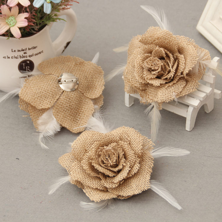 jute artificial flowers rose burlap rose vintage wedding. Black Bedroom Furniture Sets. Home Design Ideas