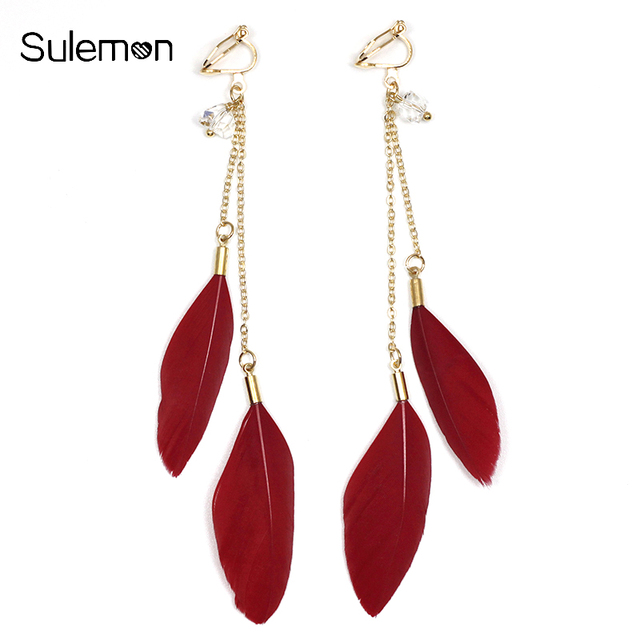 Fashion Feather Earrings No Hole Ear Clips Red Feathers Clip