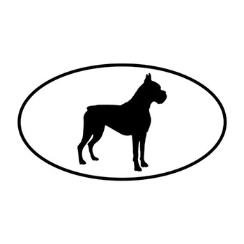 12.7*7.2CM Boxer Dog Car Stickers Creative Waterproof Decals Car Styling Decoration Black/Silver S1-0280 image