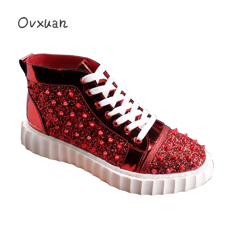 Fashion Party and Street High Men Loafers Red Short Rivets Red Sand Surface Men Casual Shoes British Design Young Man Flats Shoe luxury pointed toe rivet casual shoes england designer party and banquet men loafers fashion young man walking street shoes