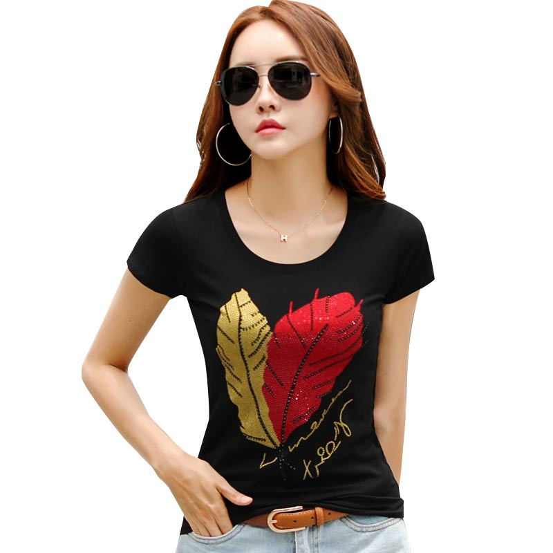 Floral Printed T-Shirts Women O-Neck Tops Tee Casual Girls Cute Beading T Shirts Female Black White Cotton Top Tees 2018 Fashion