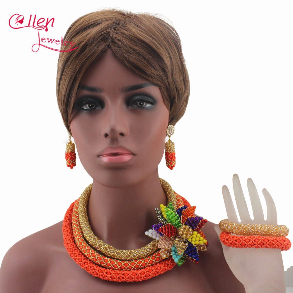 Luxury African Beads Jewelry Set Flower Pendant Necklace Coral Nigerian wedding beads Bridal Jewelry Set for Women W13291 cute women s beads flower bee pendant necklace