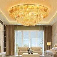 Золотой атмосфера гостиной потолочный светильник красочный LED High Light дистанционный пульт круглый спальня комната кристалл лампы hotel светод