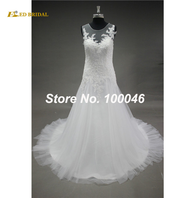 Illusion Neckline Wedding Dresses Sleeveless A Line Latest Design Lace Beading Robe De Mariage Western