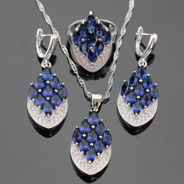 Azul Criado Sapphire Cor Prata Colar Pingente Brincos Conjuntos de Jóias Para As Mulheres Anéis de Caixa de Presente Livre
