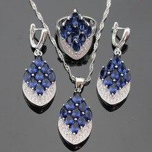 Azul Creado Sapphire Color Plata Pendientes de Gota Colgante de Collar de Sistemas de La Joyería Para Las Mujeres Anillos Caja de Regalo Libre