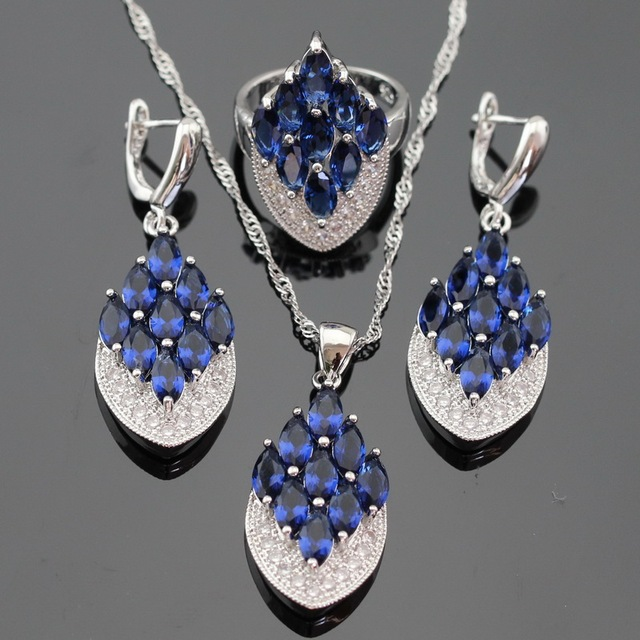 Blue Created Sapphire Silver Color Jewelry Sets For Women Necklace Pendant Drop Earrings Rings Free Gift Box