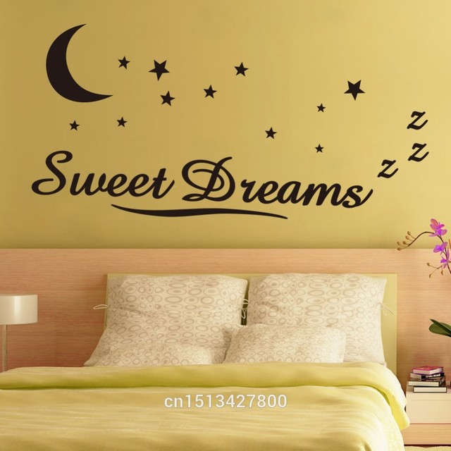 Cacar Wall Sticker Quotes Sweet Dreams Moon Stars Quote Art Decal Words Lettering Decor