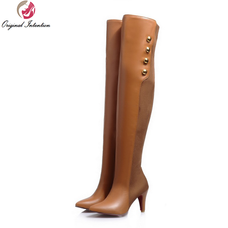 Original Intention Women Over the Knee Boots Pointed Toe Thin Heels Boots Fashion Black Brown Yellow Shoes Woman US Size 3.5-13 thin heels full grain leather over the knee boots sapatos femininos pointed toe fashion boots ladies shoes woman