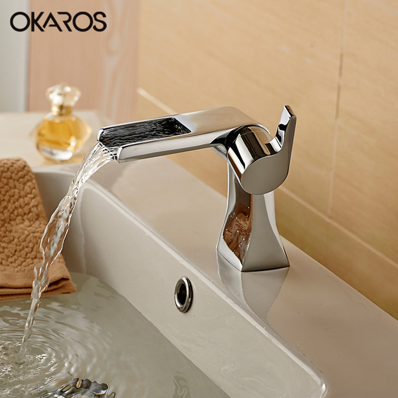 OKAROS Waterfall Basin Faucet Bathroom Faucet Chrome Brass Vessel Sink Hot Cold Water Single Handle Bathroom Faucet Tap Mixer xoxo modern bathroom products chrome finished hot and cold water basin faucet mixer single handle water tap 83007