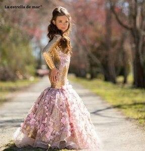 Image 4 - La estrella de mar flower girl dresses new O neck back open long sleeve sexy mermaid gold sequins pageant dresses for girls