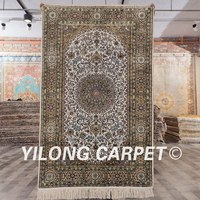 YILONG 3'x5' Persian hand knotted silk white and green carpet exquisite turkish rugs for sale (SCH122A3x5)